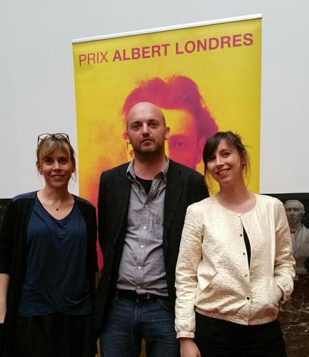 Cécile Allegra, Luc Mathieu et Delphine Deloget, Prix Albert Londres 2015